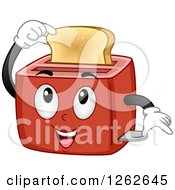 Clipart Of A Toaster Character Holding A Slice Of Bread Royalty Free Vector Illustration