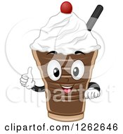 Clipart Of A Chocolate Shake Character Holding A Thumb Up Royalty Free Vector Illustration by BNP Design Studio