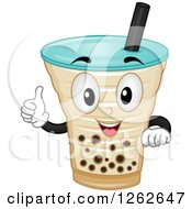 Clipart Of A Milk Tea Character Holding A Thumb Up Royalty Free Vector Illustration by BNP Design Studio