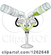 Clipart Of A Martini Glass Character Mixing Alcohol Royalty Free Vector Illustration