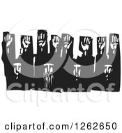 Clipart Of A Black And White Woodcut Group Of Men Surrendering With Their Hands Up Royalty Free Vector Illustration