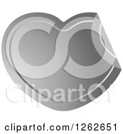 Clipart Of A Peeling Silver Heart Tag Label Royalty Free Vector Illustration