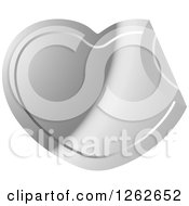 Clipart Of A Peeling Silver Heart Tag Label Royalty Free Vector Illustration by Lal Perera