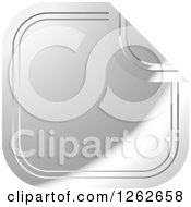 Clipart Of A Peeling Silver Square Tag Label Royalty Free Vector Illustration