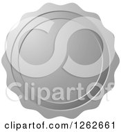 Clipart Of A Silver Wax Seal Tag Label Royalty Free Vector Illustration