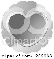 Clipart Of A Silver Heart Tag Label Royalty Free Vector Illustration