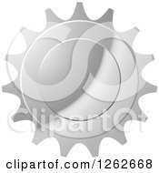 Clipart Of A Gear Like Silver Tag Label Royalty Free Vector Illustration