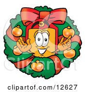 Clipart Picture Of A Price Tag Mascot Cartoon Character In The Center Of A Christmas Wreath