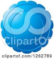 Clipart Of A Floral Like Blue Tag Label Royalty Free Vector Illustration