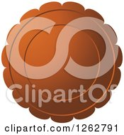 Clipart Of A Floral Like Brown Tag Label Royalty Free Vector Illustration