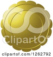Clipart Of A Floral Like Gold Tag Label Royalty Free Vector Illustration