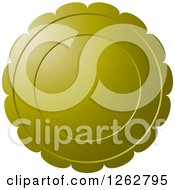 Clipart Of A Floral Like Olive Green Tag Label Royalty Free Vector Illustration
