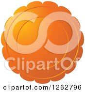 Clipart Of A Floral Like Orange Tag Label Royalty Free Vector Illustration