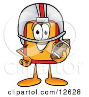 Clipart Picture Of A Price Tag Mascot Cartoon Character In A Helmet Holding A Football by Toons4Biz