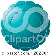 Clipart Of A Floral Like Teal Tag Label Royalty Free Vector Illustration