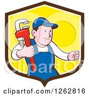 Poster, Art Print Of Cartoon Caucasian Male Plumber Holding A Monkey Wrench In A Brown White And Yellow Shield
