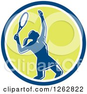 Clipart Of A Retro Silhouetted Female Tennis Player Serving Inside A Blue White And Green Circle Royalty Free Vector Illustration