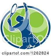 Clipart Of A Retro Silhouetted Male Tennis Player Serving Inside A Blue White And Green Circle Royalty Free Vector Illustration by patrimonio