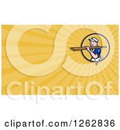 Clipart Of A Cartoon Carpenter Carrying Lumber And Rays Business Card Design Royalty Free Vector Illustration by patrimonio