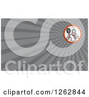Clipart Of A Chef In A Kung Fu Stance And Rays Business Card Design Royalty Free Vector Illustration