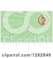 Clipart Of A Female Chef And Rays Business Card Design Royalty Free Vector Illustration