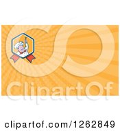 Clipart Of A Chef Holding A Fork And Rays Business Card Design Royalty Free Vector Illustration