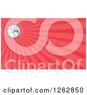 Clipart Of A Chef Peeking In An Oven And Rays Business Card Design Royalty Free Vector Illustration