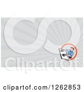 Clipart Of A Glass Installer And Rays Business Card Design Royalty Free Vector Illustration by patrimonio