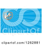 Clipart Of A Retro Satellite Dish Installer Background Or Business Card Design Royalty Free Illustration by patrimonio