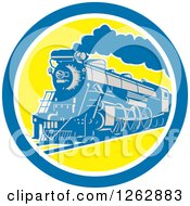 Clipart Of A Retro Steam Train In A Blue White And Yellow Circle Royalty Free Vector Illustration by patrimonio