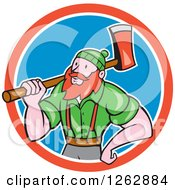 Cartoon Logger Paul Bunyan With An Axe In A Red White And Blue Circle