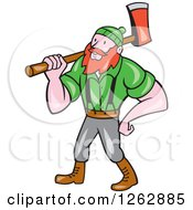 Clipart Of A Cartoon Logger Paul Bunyan With An Axe Royalty Free Vector Illustration by patrimonio