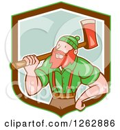 Cartoon Logger Paul Bunyan With An Axe In A Green Brown And White Shield