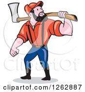 Cartoon Male Paul Bunyan Lumberjack Carrying An Axe