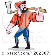 Clipart Of A Cartoon Male Paul Bunyan Lumberjack Carrying An Axe Royalty Free Vector Illustration by patrimonio