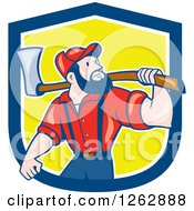 Cartoon Male Paul Bunyan Lumberjack Carrying An Axe In A Blue White And Yellow Shield