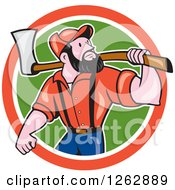 Clipart Of A Cartoon Male Paul Bunyan Lumberjack Carrying An Axe In A Red White And Green Circle Royalty Free Vector Illustration