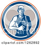 Clipart Of A Retro Male Runner In An Orange White Blue And Taupe Circle Royalty Free Vector Illustration
