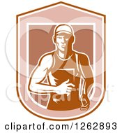 Clipart Of A Retro Male Runner In A Shield Royalty Free Vector Illustration by patrimonio