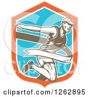 Clipart Of A Retro Male Runner Breaking Through A Finish Line In A Taupe Orange White And Blue Shield Royalty Free Vector Illustration