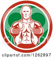 Clipart Of A Retro Male Bodybuilder Working Out With Kettlebells In A Red White And Green Circle Royalty Free Vector Illustration