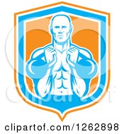 Clipart Of A Retro Male Bodybuilder Working Out With Kettlebells In An Orange White And Blue Shield Royalty Free Vector Illustration