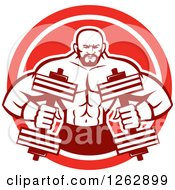 Clipart Of A Retro Muscular Male Bodybuilder With Dumbbells In A Red And White Circle Royalty Free Vector Illustration