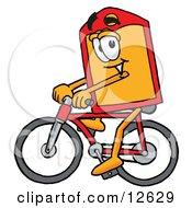 Price Tag Mascot Cartoon Character Riding A Bicycle