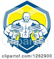 Clipart Of A Retro Muscular Male Bodybuilder With Dumbbells In A Blue White And Yellow Shield Royalty Free Vector Illustration by patrimonio