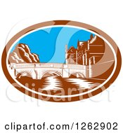 Clipart Of A Woodcut Scene Of The Trinity College Bridge In Cambridge England Spanning The River Cam Royalty Free Vector Illustration