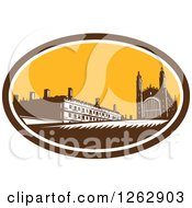 Clipart Of A Woodcut Scene Of Kings College Of The University Of Cambridge In Cambridge England Royalty Free Vector Illustration by patrimonio