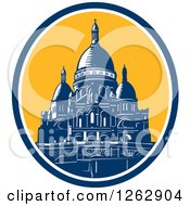 Clipart Of A Woodcut Scene Of The Dome Of The Basilica Of The Sacred Heart Of Paris Royalty Free Vector Illustration