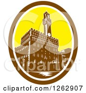 Retro Woodcut View Of The Tower Of Palazzo Vecchio In Florence Firenze Italy
