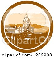 Clipart Of A Retro Woodcut View Of The Gold Chapel Dome Of Les Invalides In Paris France Royalty Free Vector Illustration by patrimonio